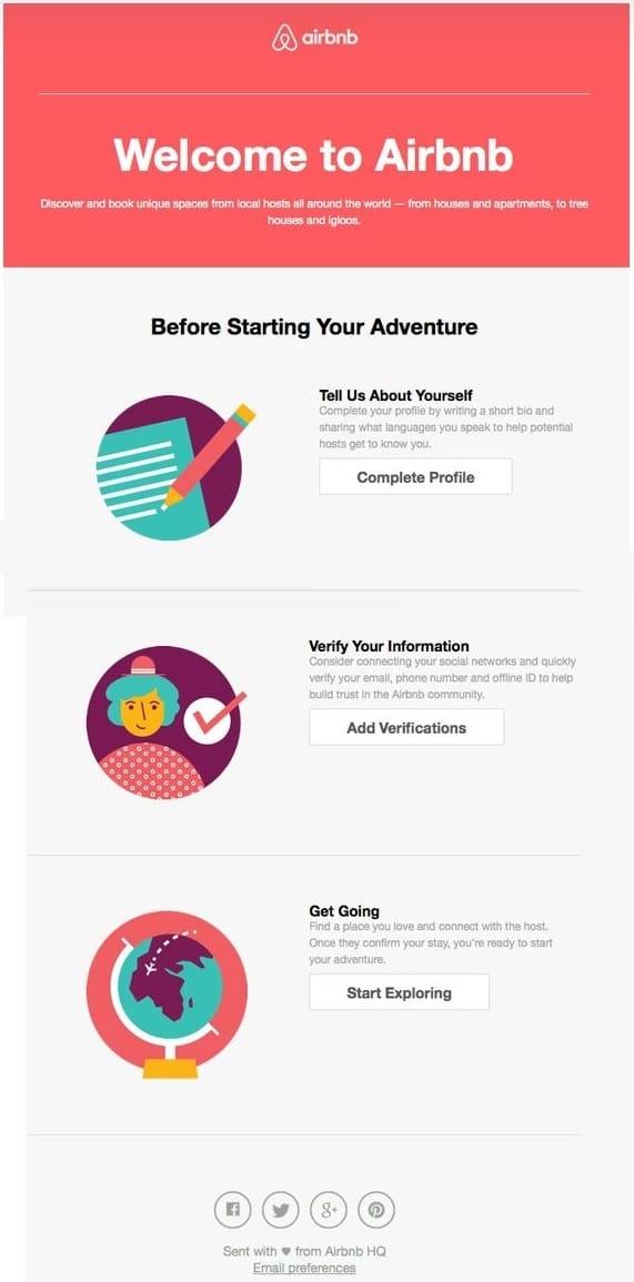 email de inicialização do Airbnb