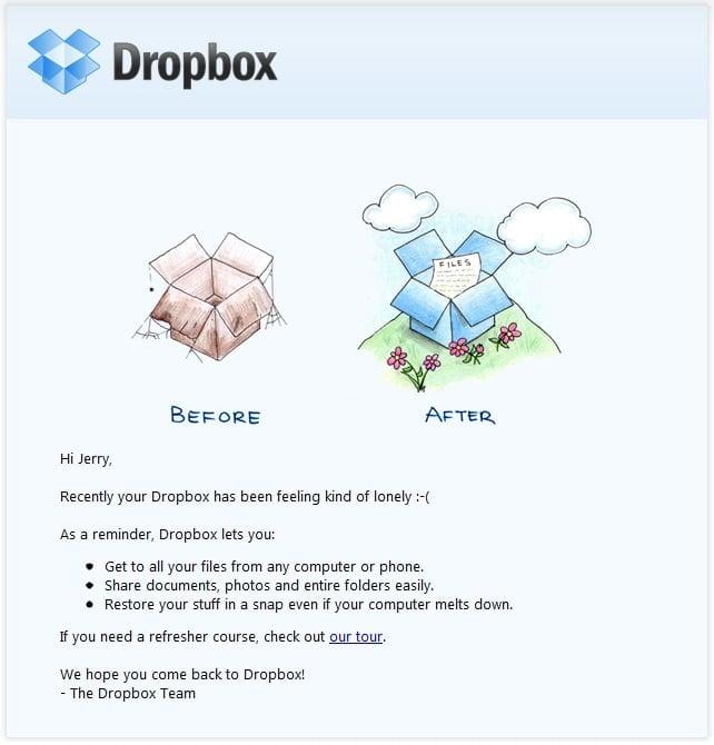 email de reengajamento do Dropbox