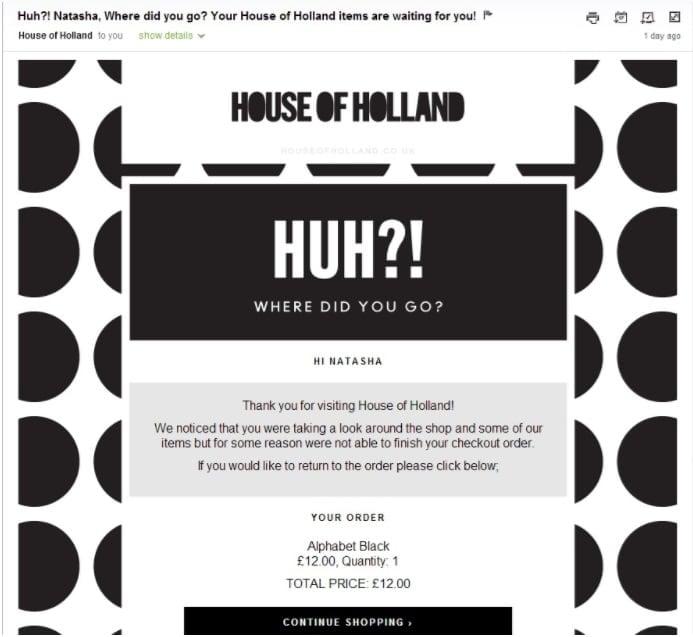 email para carrinho de compras abandonado do House of Holland