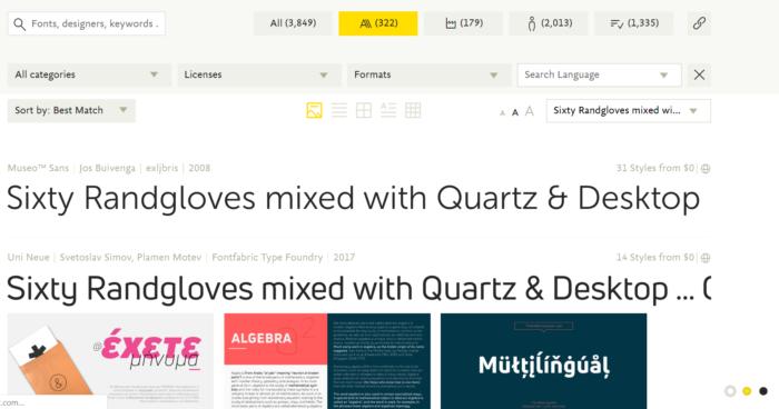 Site fontshop com opções de fontes para marcas
