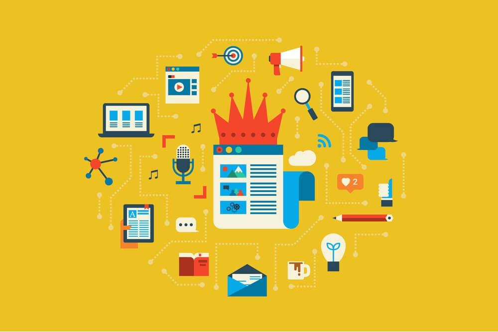 ilustração co diversos elementos relacionados à emails e divulgação