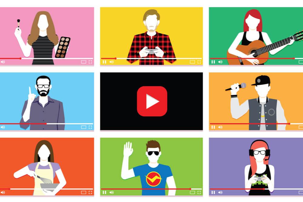 ilustraçao com diversos digital influencers em videos e simbolo da plataforma youtube ao meio