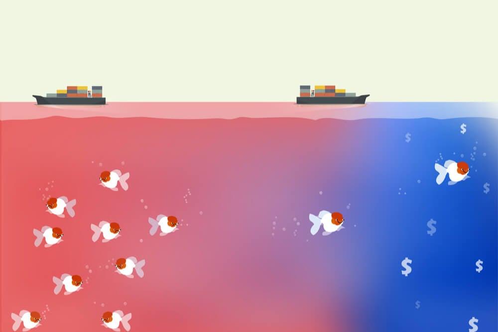 ilustração da teoria de marketing oceano azul