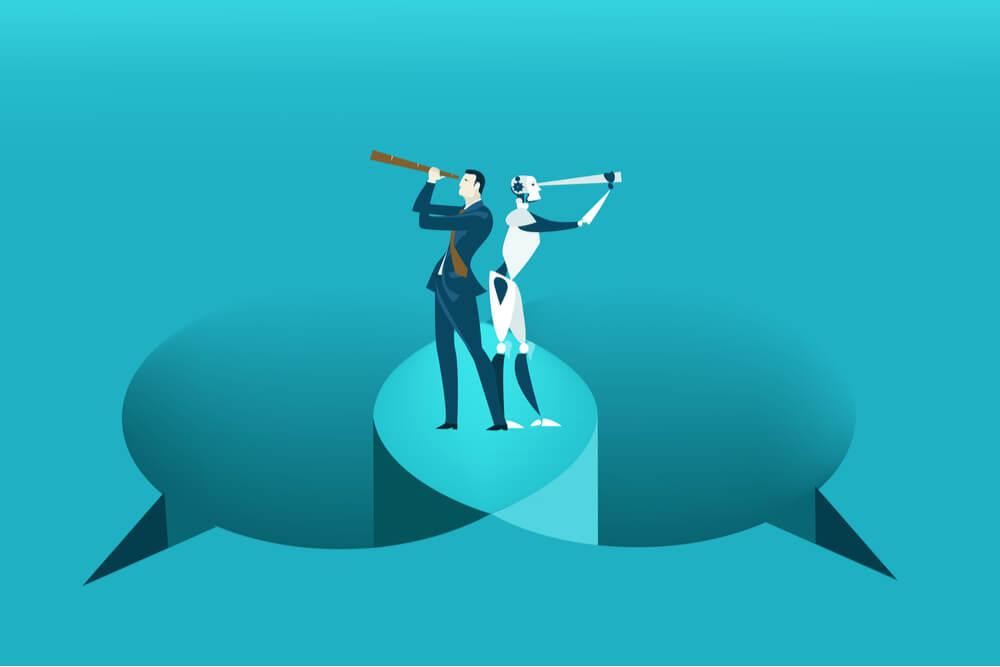 ilustração de balões de comunicação e dupla profissional olhando em direções diferentes