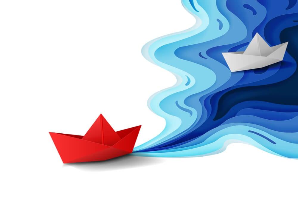 ilustração de barcos vermlho e branco