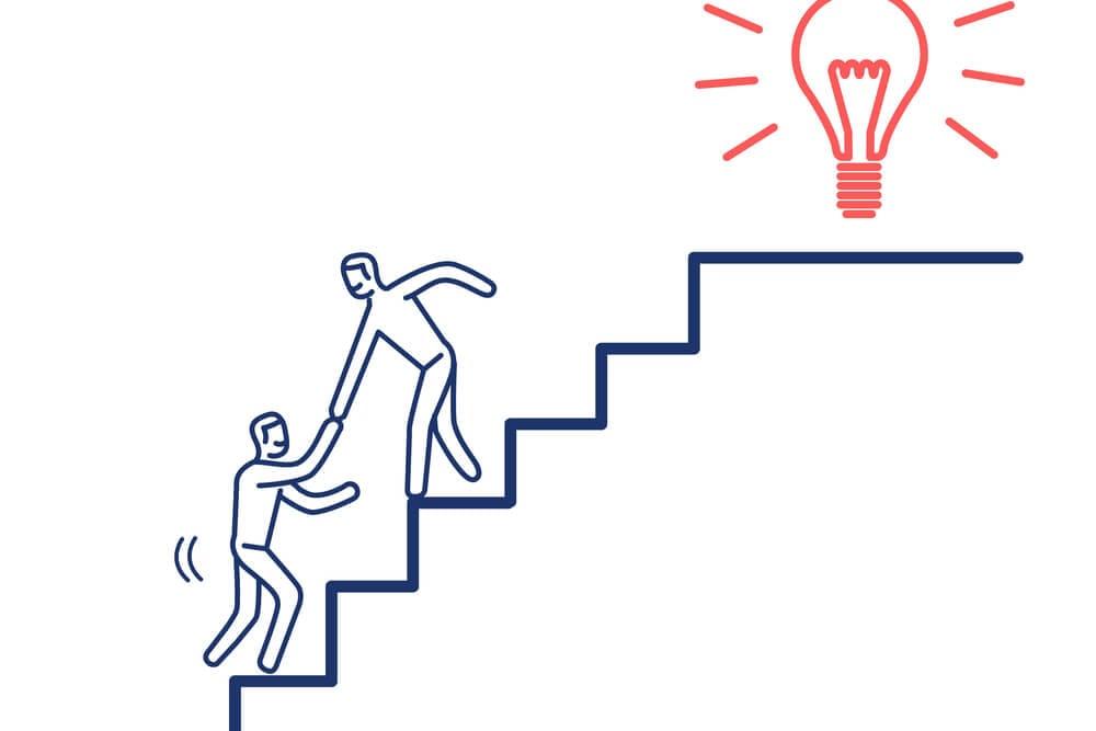 ilustração de bonecos se ajudano a sumir escada