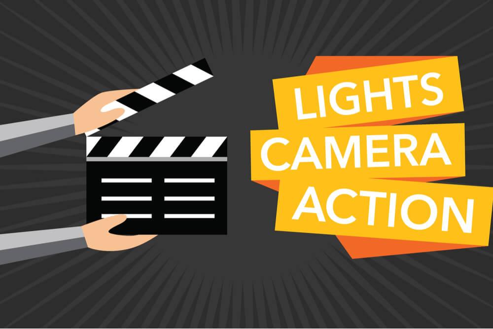 ilustração de bordão Luz, câmera ação e claquete de cinema