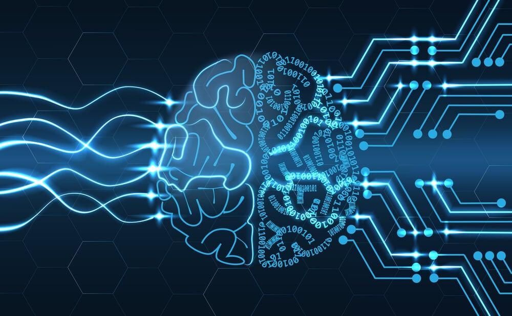 ilustraçao de cerebro humano com sinais de tecnologia representando inteligencia artificial