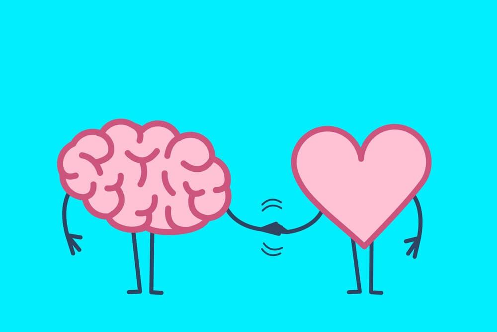 ilustração de coração e cérebro de mãos dadas