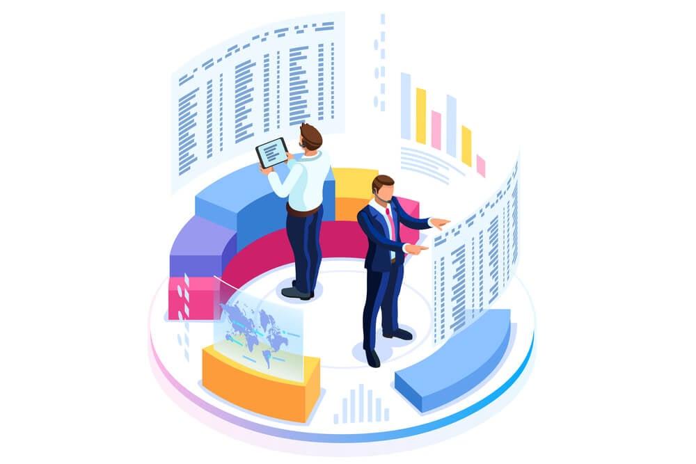 ilustração de dupla trabalhando em análise de dados