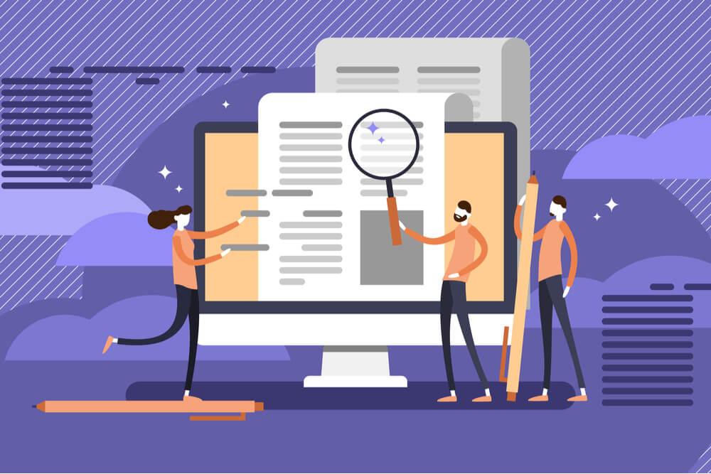 ilustração de equipe analisando documento