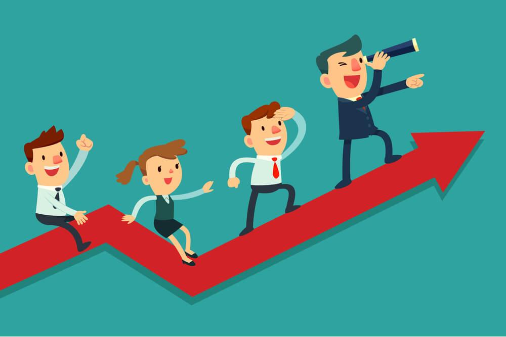 ilustração de equipe de leads em cima de gráfico de crescimento