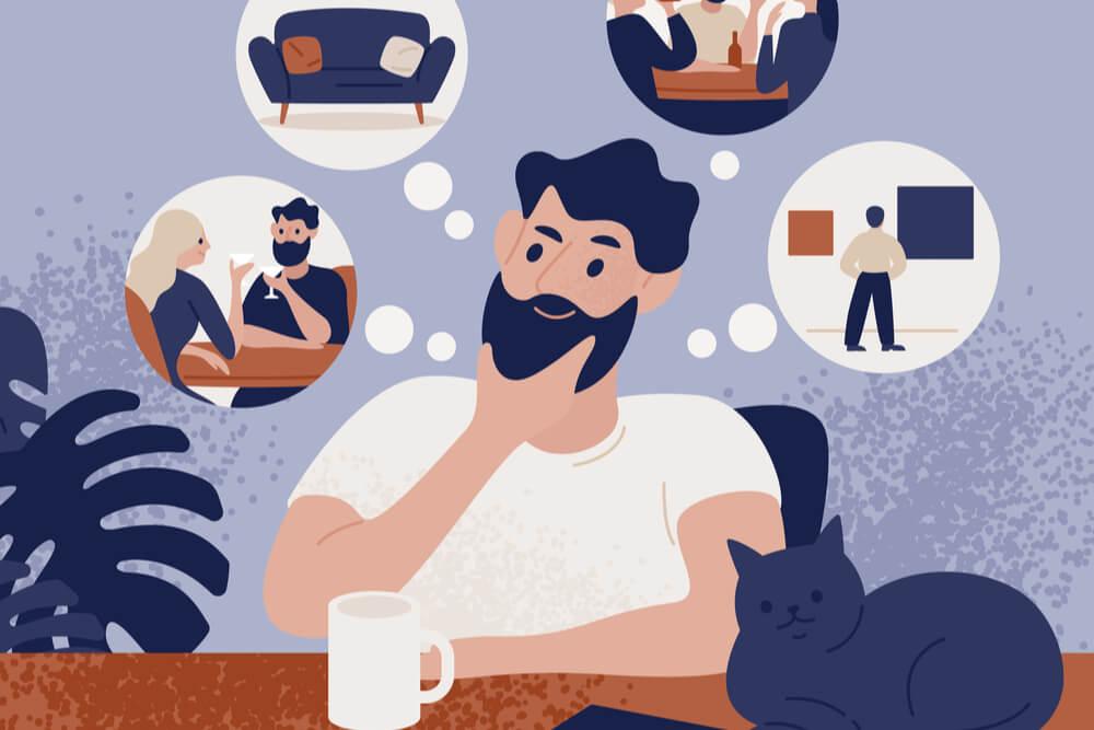 ilustração de homem pensando em diversas situações