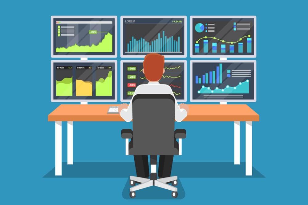 ilustraçao de homem sentado em frente a telas de computador fazendo monitoramento