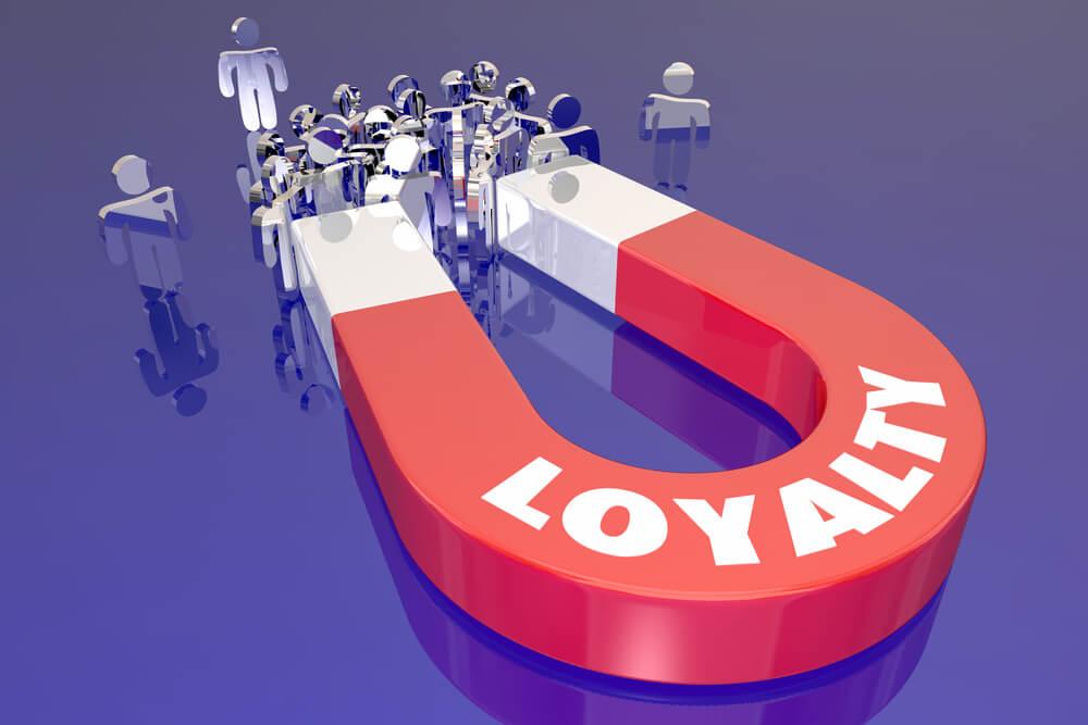ilustração de imã com título loyalty fidelização de clientes