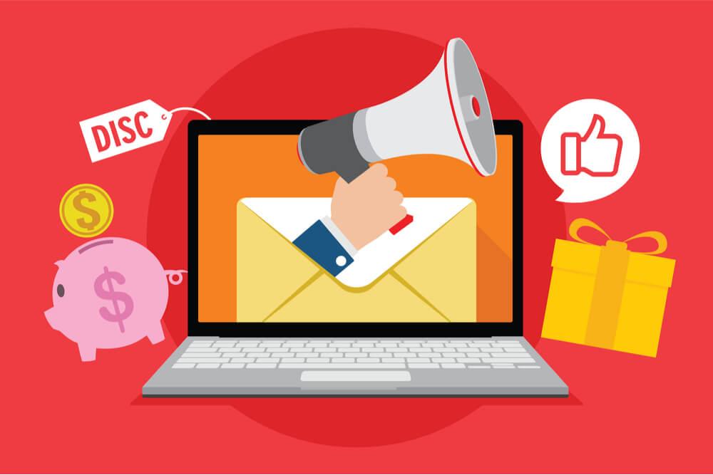 ilustração de laptop com email relacionados a compra e dinheiro