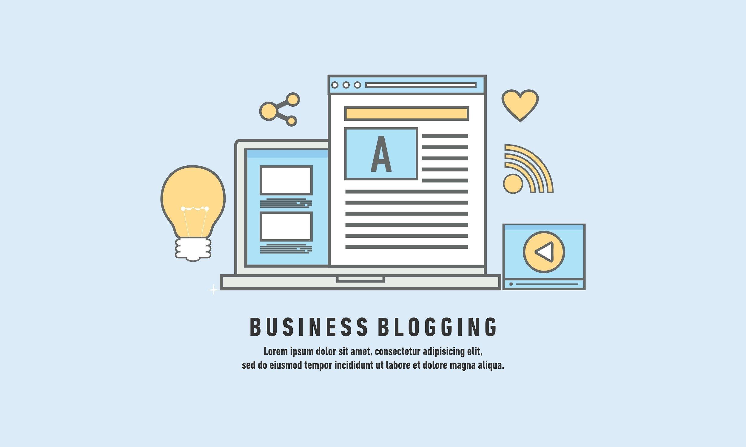 ilustraçao de laptop com pagina de texto e simbolos relacionados a criaçao de conteudo de blog