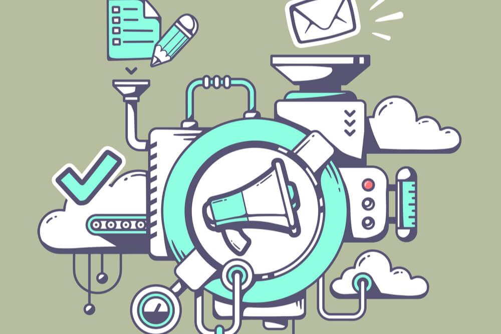 ilustraçao de megafone e simbolos significando relaçoes publicas