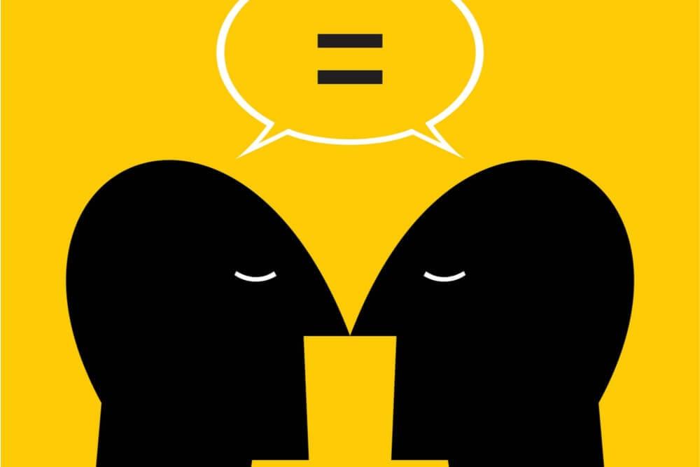 ilustração de pessoas de comunicando com falas iguais