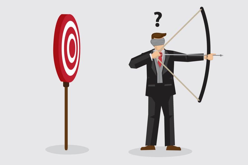 ilustração de profissional mirando arco e flecha em direção contraria do alvo
