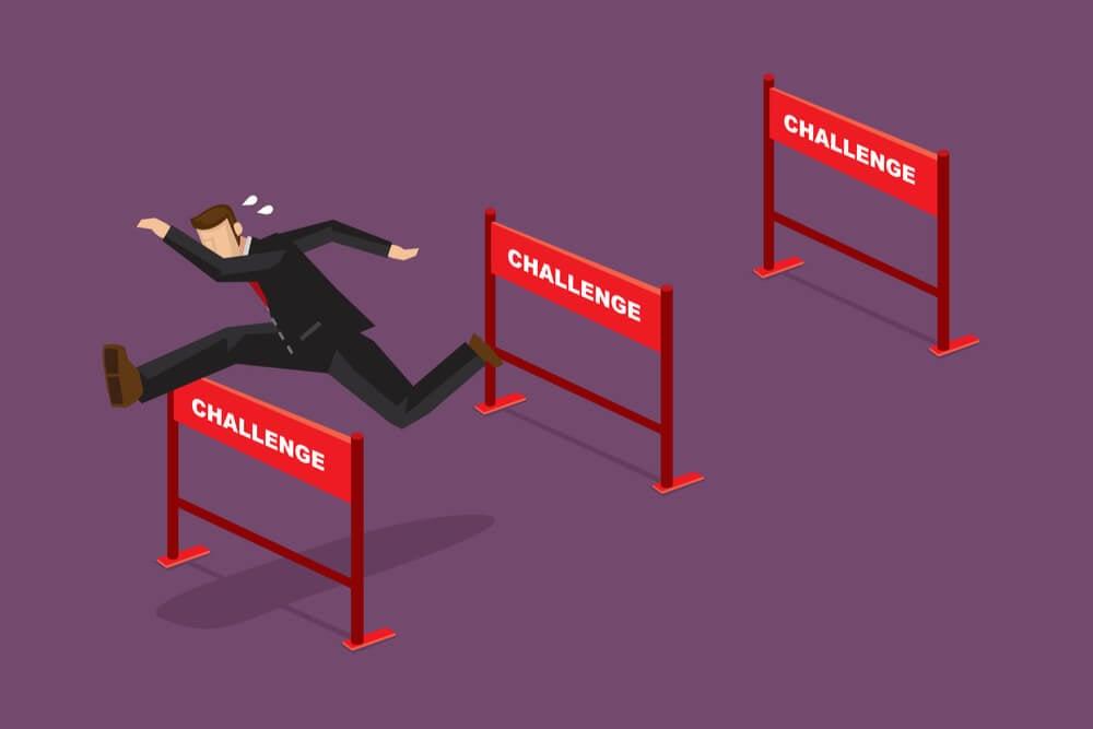 ilustração de profissional superando desafios
