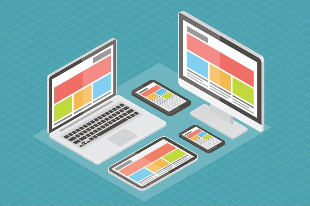 ilustração de representação de site responsivo em vários dispositivos