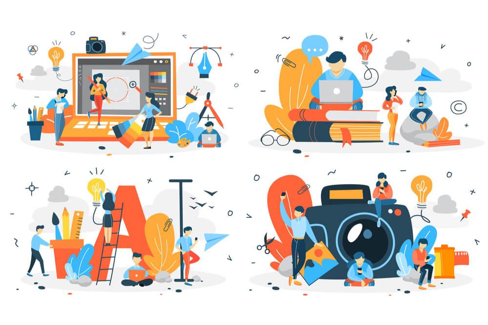 ilustração de situações diferentes de criação