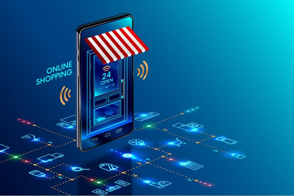 ilustraçao de smartphone com simbolo de fachada de loja simbolizando marketing por whatsapp