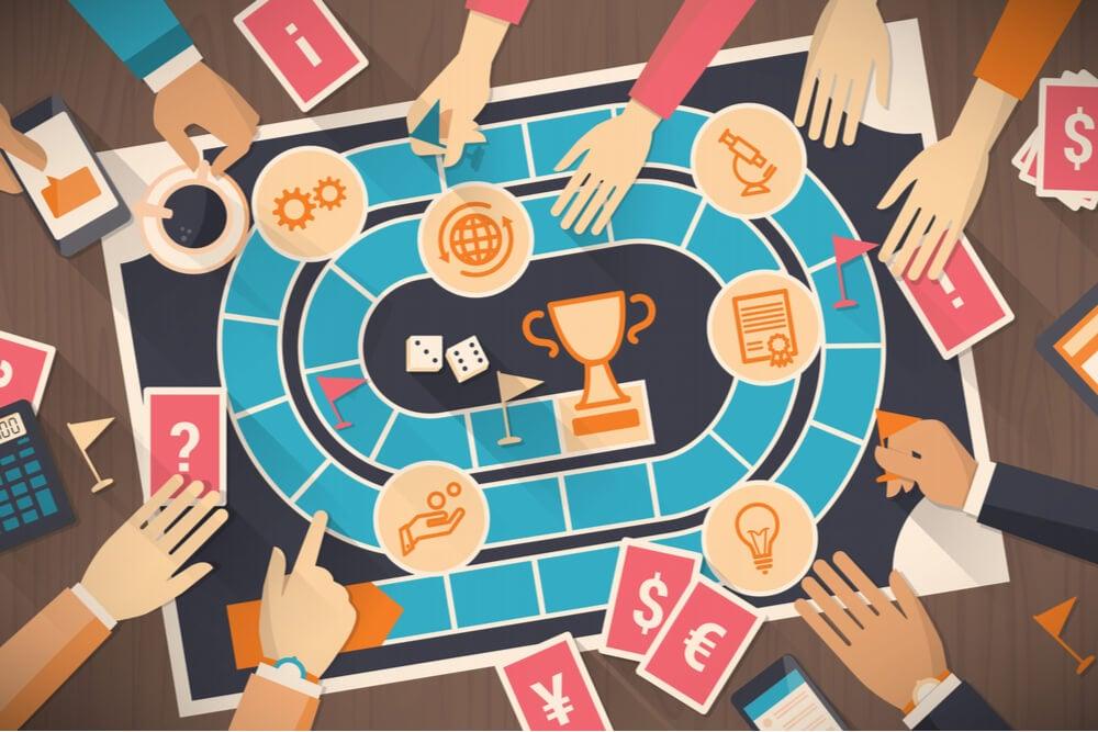 ilustração de tabuleiro de jogo com símbolos empresariais