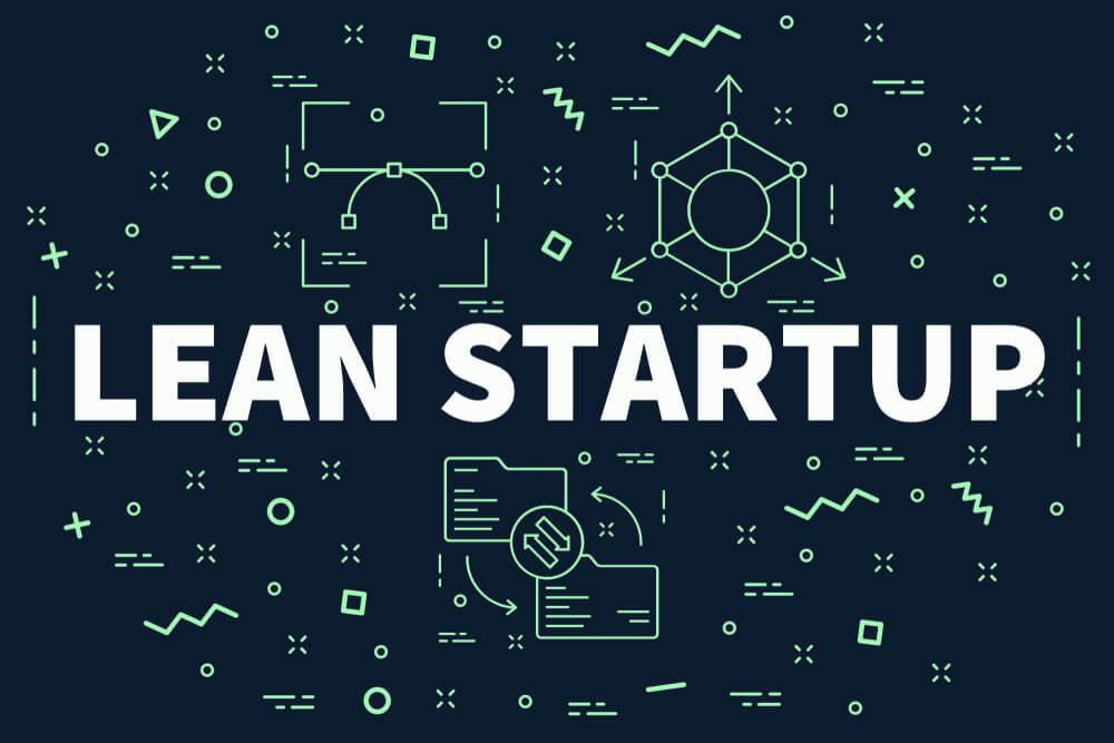 Ilustração de título Lean Startup com simbolos relacionados ao MVP