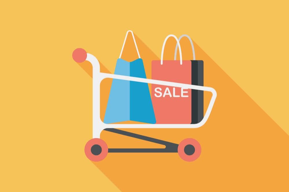 ilustraçao demonstrando carrinho de compras com sacolas em seu interior