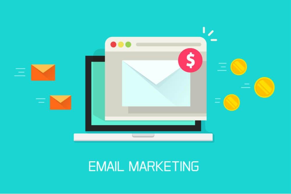 ilustraçao demonstrando laptop e icones de email e moedas