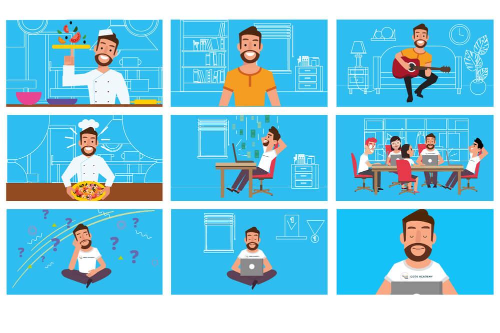 ilustração depersonagem de motion graphic em vários quadros diferentes