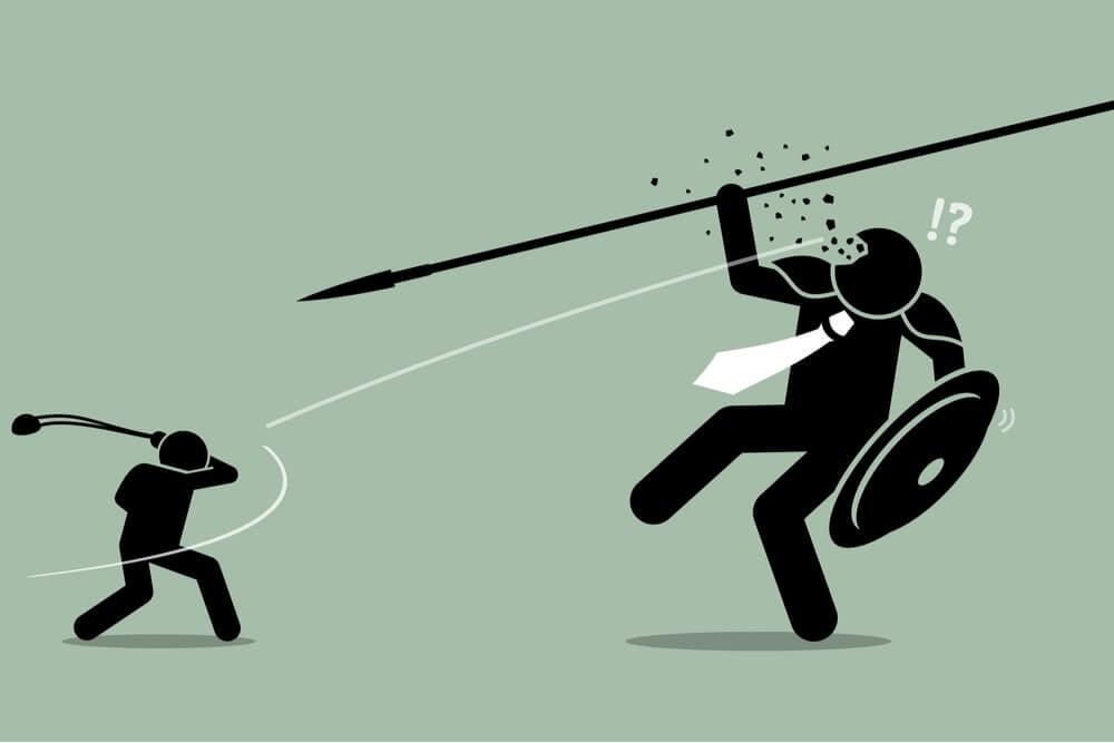 ilustração representando a disputa entre empresas grandes e pequenas fruto da tecnologia do marketing 4.0