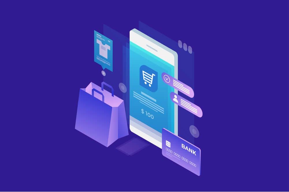 ilustraçao representando compras online em smartphone com simbolos de sacolas de compras e cartao de credito