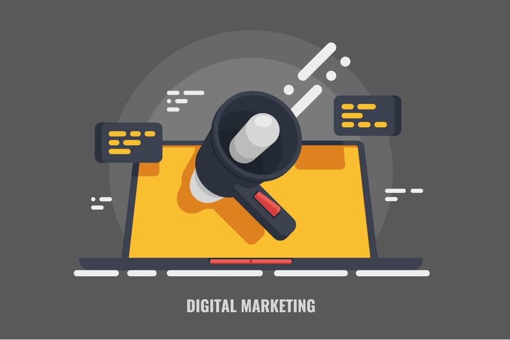 ilustraçao representando laptop com megafone ao meio simbolizando promoçoes pagas no youtube