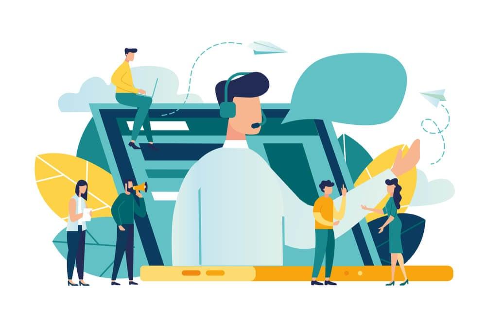 ilustraçao significando comunicaçao em torno de laptop