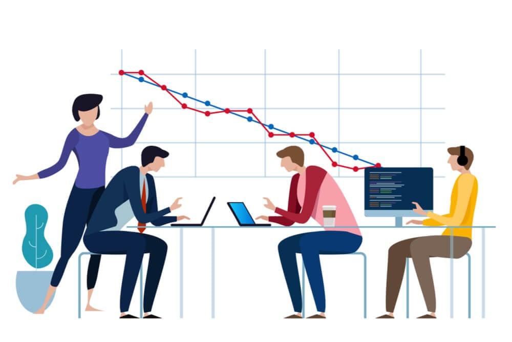 ilustração sobre análise de dados e produtividade
