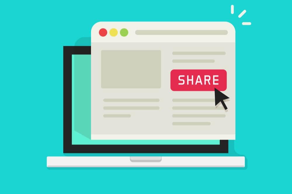 ilustração sobre compartilhamento de site