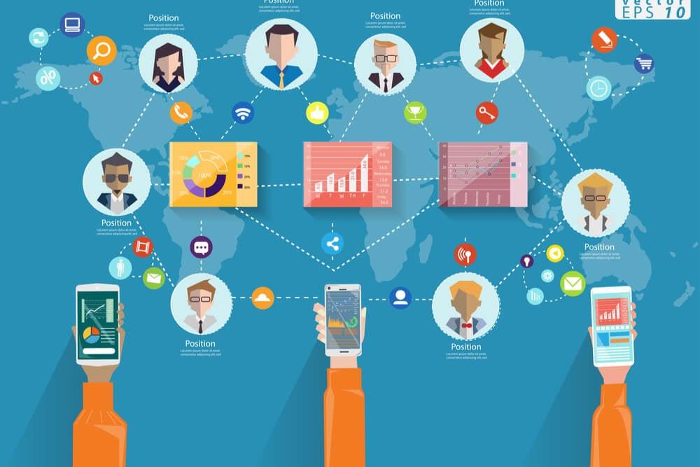 ilustração sobre comunicação interna e ligações de pessoas com dispositivos e pessoas