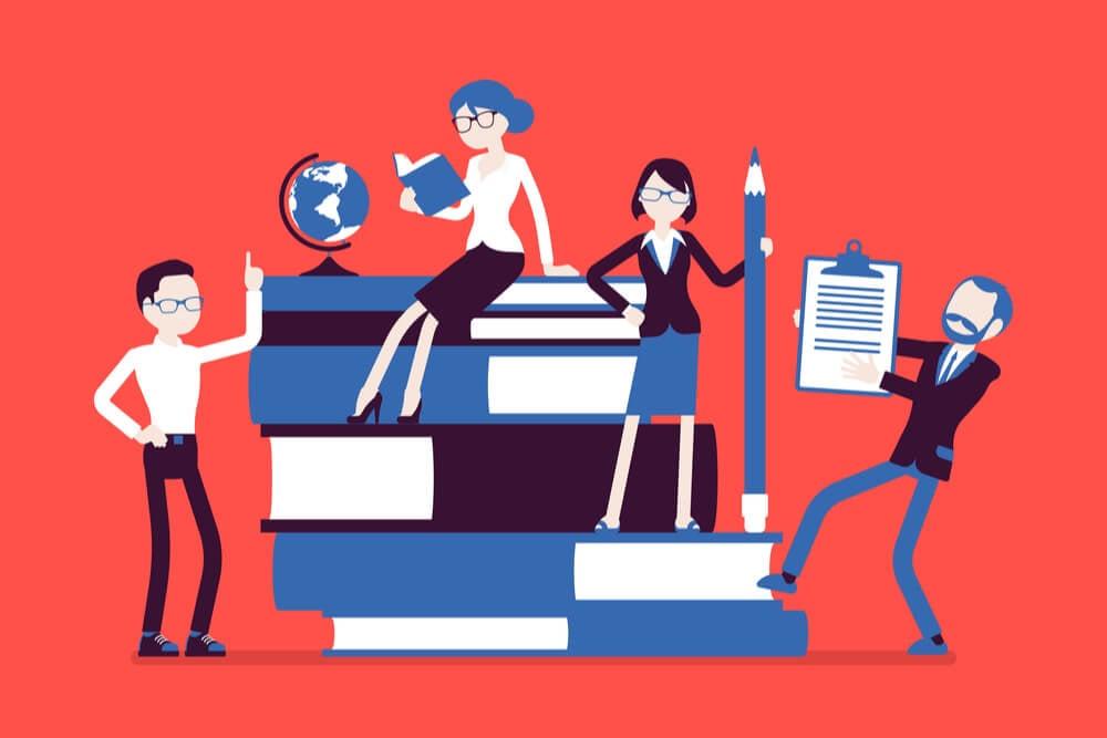 ilustração sobre conhecimento e equipe