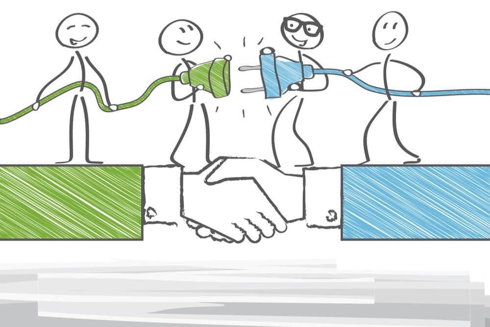 ilustração sobre fusão de empresas