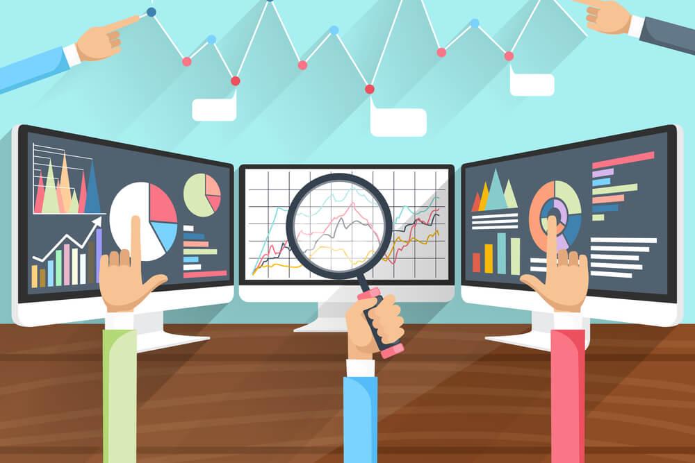 ilustração sobre monitoramento de progresso e dados