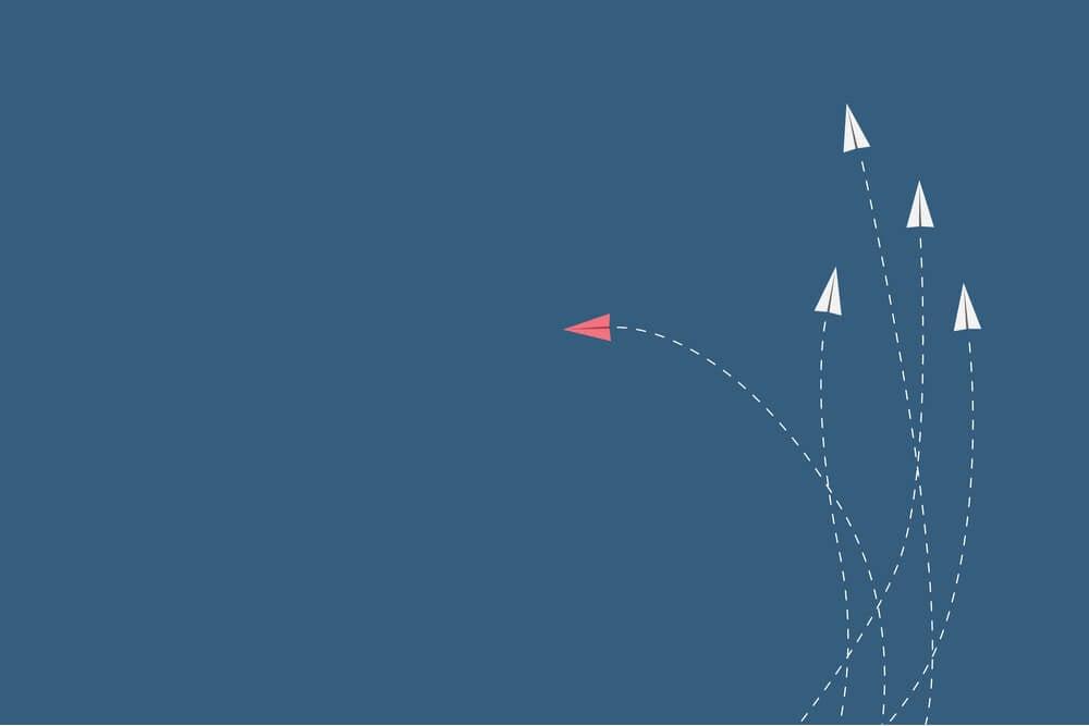 ilustração sobre mudança de direção