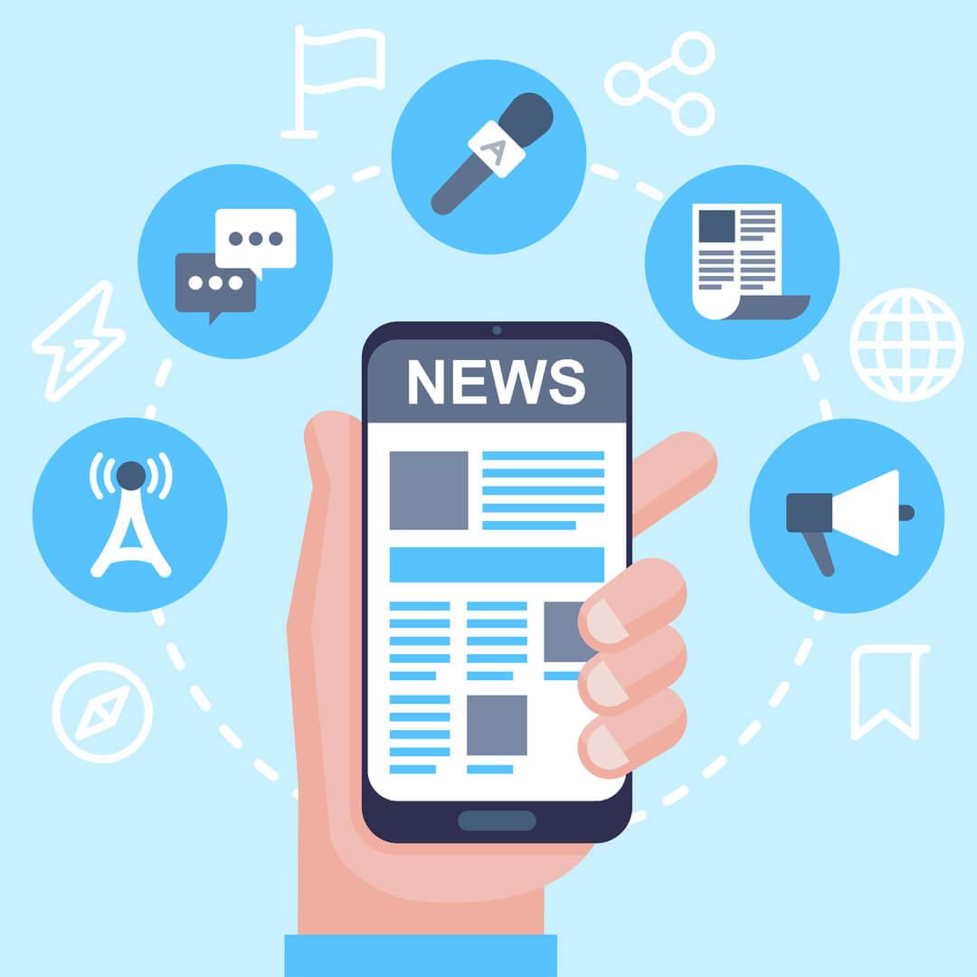 ilustração sobre notícias e smartphones