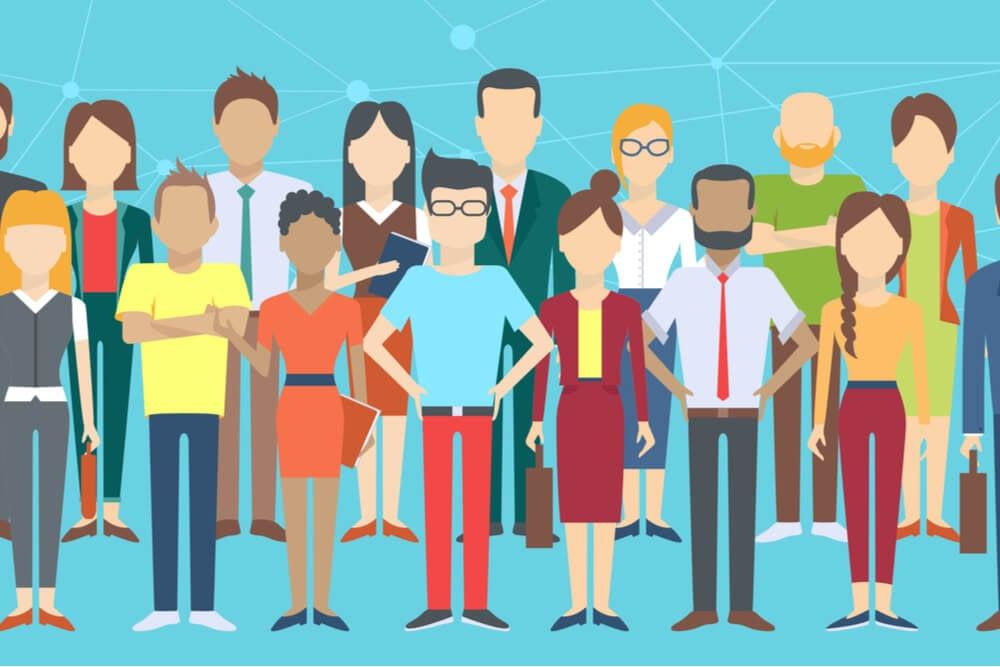 ilustrações de pessoas diferentes como personagens de motion graphics