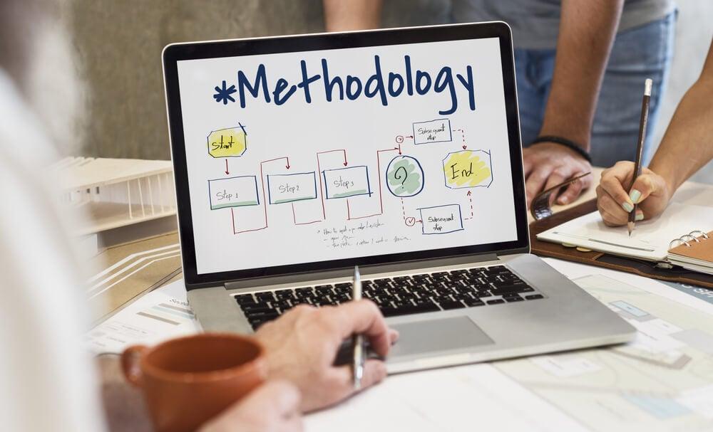 laptop em mesa com a palavra methodology em tela