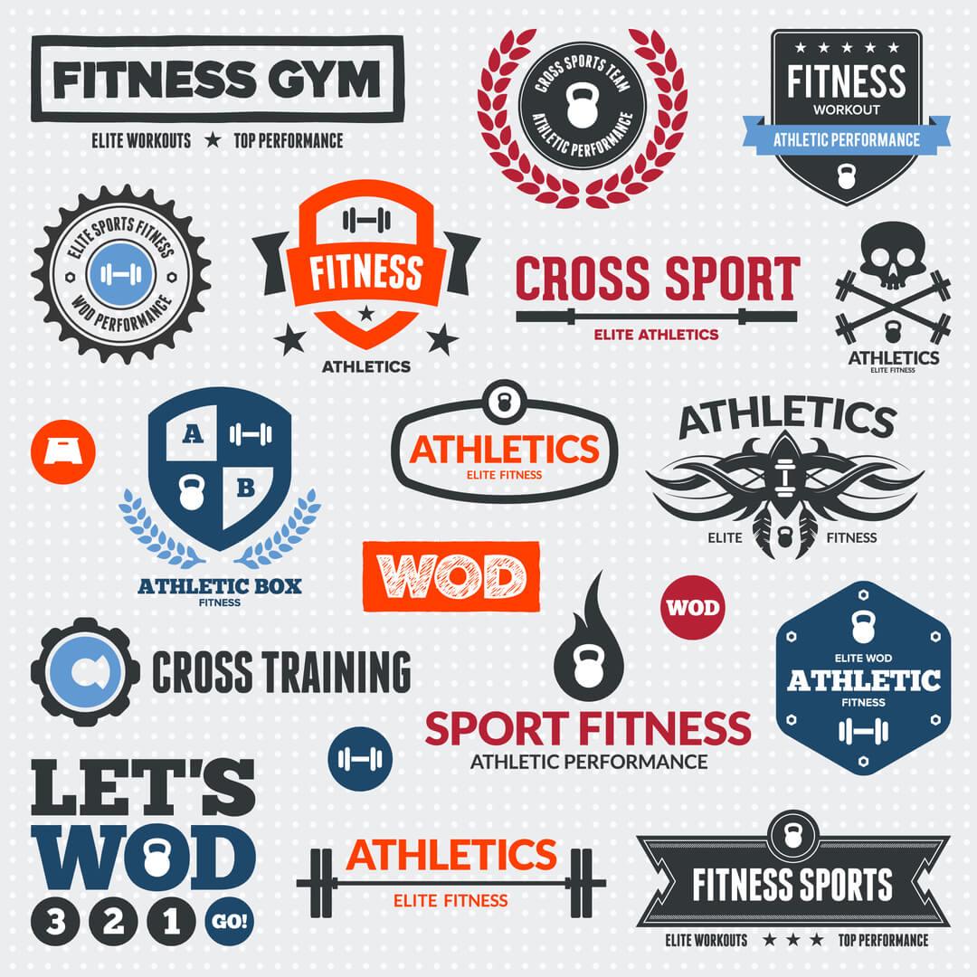 logotipos criativos na temática de esportes e academia