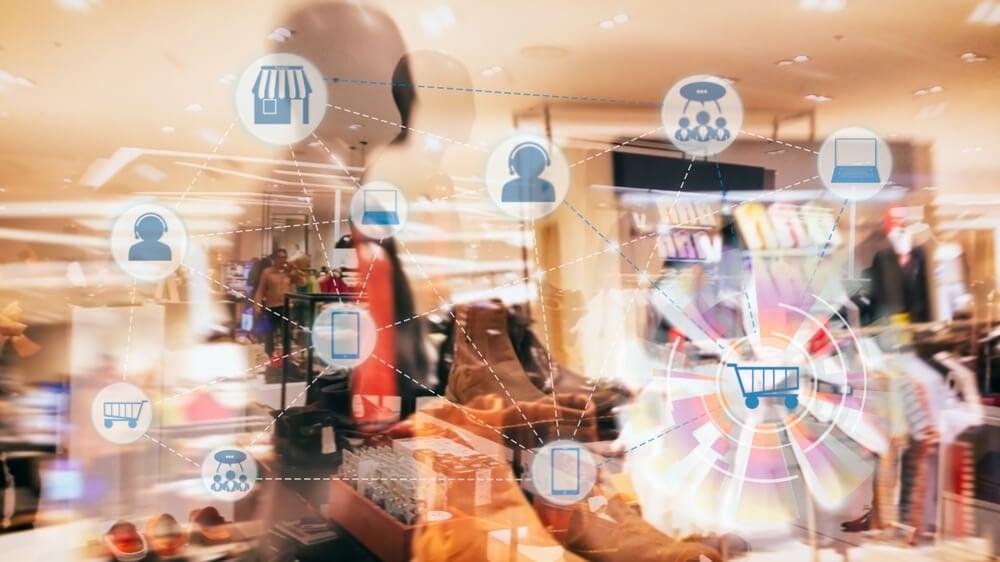 loja e simbolos relacionados a compra e redes sociais