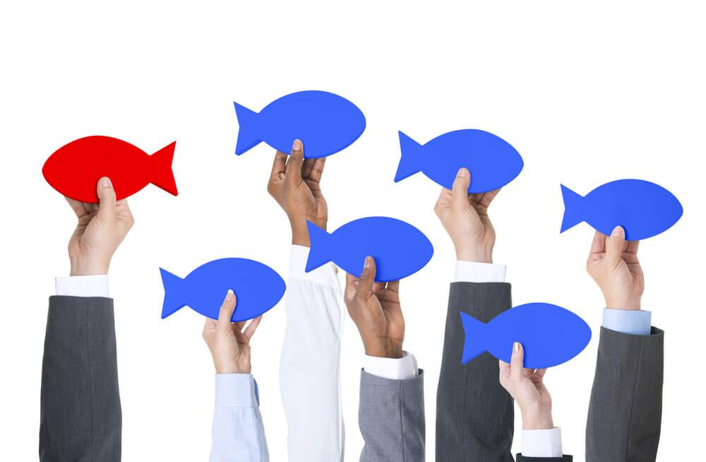 mãos segurando peixes azuis num sentido e um vermelho em outro